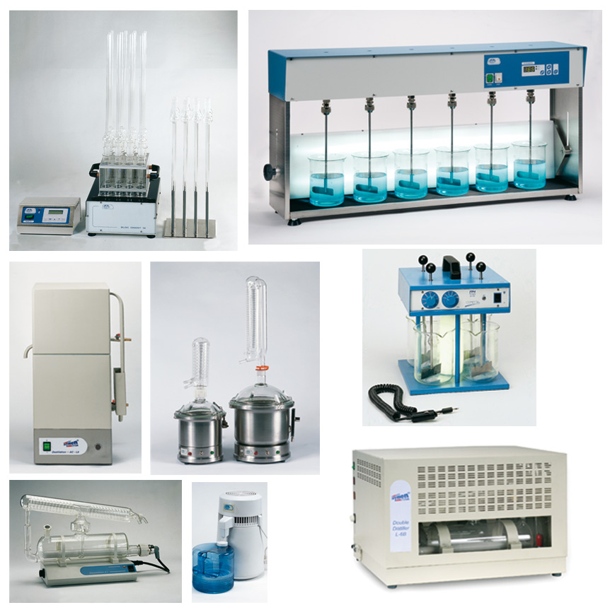 Apparatus for water analysis. Water distillers