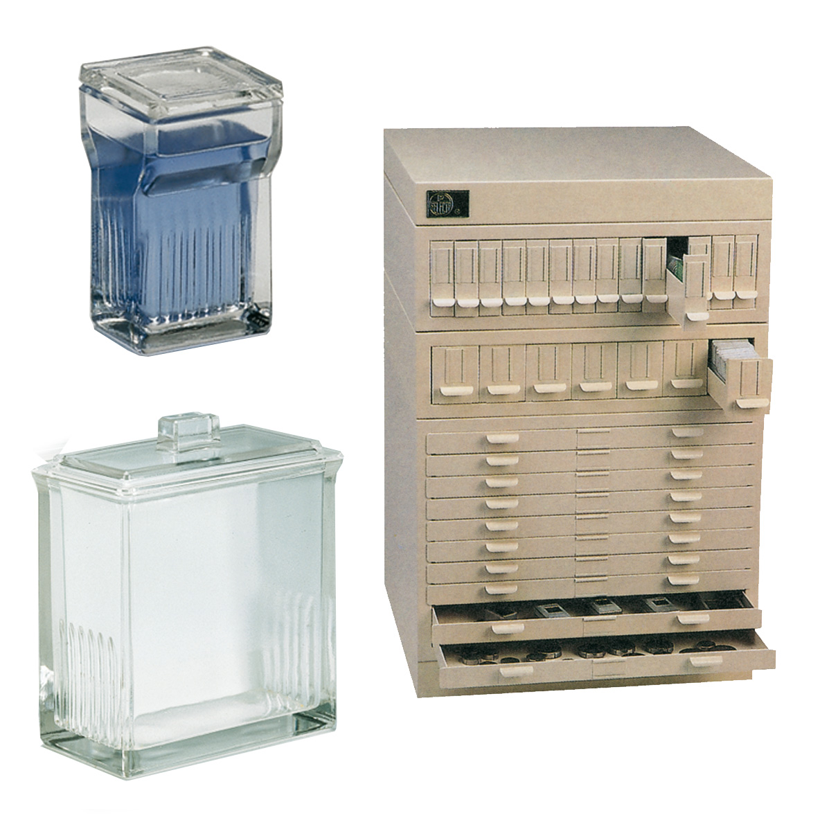 Staining and cromatography tanks, storage chest